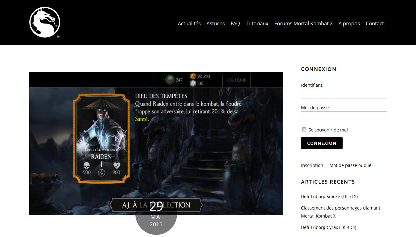 Mortal Kombat X MKXFan : articles d'actualité