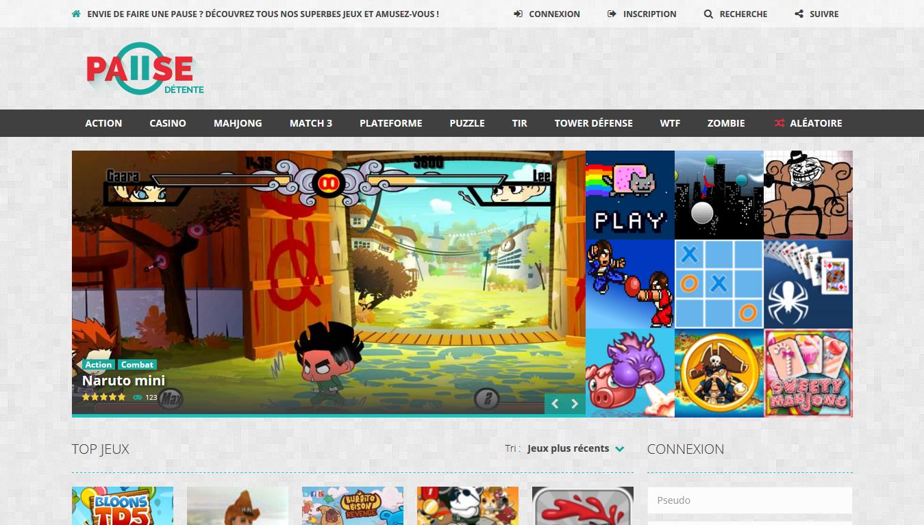 Jeux en ligne gratuits sur Pause Détente https://pausedetente.org/